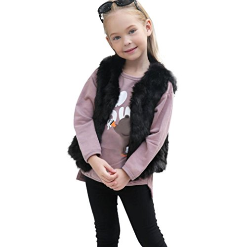 Lilicat Kinder Mantel Baby Mädchen Weste Lässige Jacke Ohne Arm Elegant Tunika Vintage Coat Waistcoat Herbst Winter Mode Kunstpelz Warm Outwear Kleidung (6T, Schwarz)