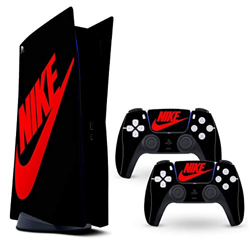 Ps5 skin Black/Red shoebox protective wrap cover vinyl sticker decals for sony playstation 5 disk version console and two dual sense 5 sticker skins sneaker box ps5 console and controller
