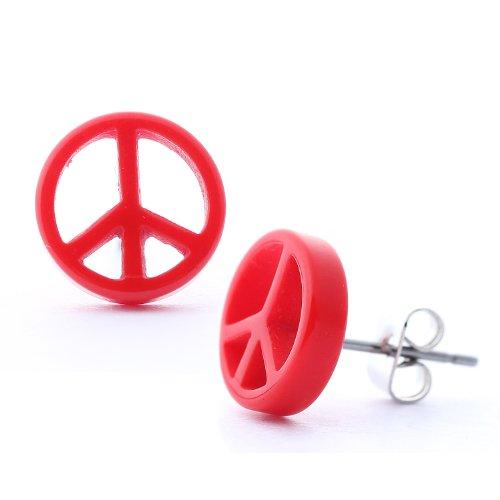 DonDon - Pendientes unisex (diámetro de 10 mm, tuerca de acero inoxidable), diseño de símbolo de la paz, color rojo