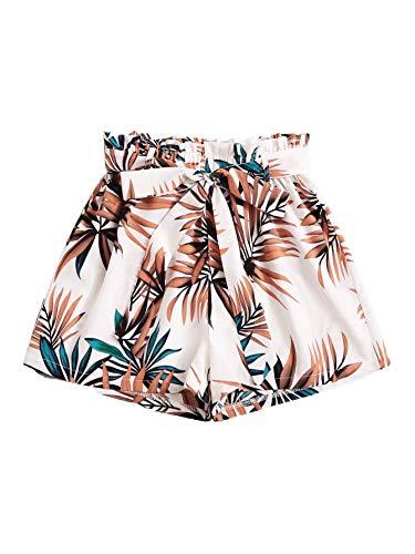 Floerns Women's Tie Bow Floral Print Summer Beach Elastic Shorts White M