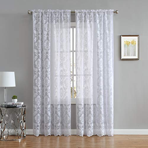 "LinenZone Fiona Knitted Lace Curtain Medallion Design with Scalloped Bottom - Rod Pocket - Total Size 108 Inch Wide (54"" Each Panel) - 84 Inch Long (2 Panels 54 x 84, White)"