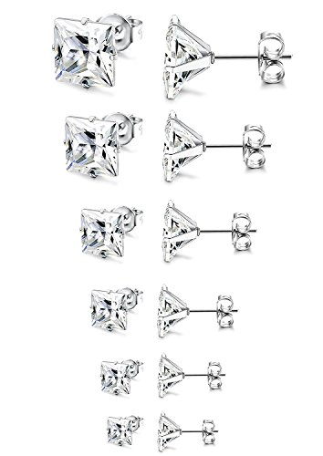 JDGEMSTONE Stainless Steel Silver Gold 6P Stud Earrings Set for Women Men Girls Round,Square (square)