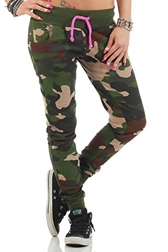 Happy Clothing Damen Camouflage Jogginghose Army Armee Tarnfarbe Sweatpants Größe XS S, Farbe:Camouflage, Größe Hosen:S