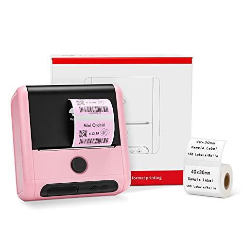 Memoking M200 Stampante per etichette Termica Bluetooth, Stampante per Codici a Barre Adesivi, Dimensioni di Stampa 20-75mm, per casa, logo, Prodotto, Compatibile con iOS e Android - Rosa