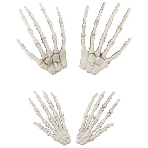Wakauto 2 Paare Halloween Skelett Hand Realistische Gefälschte Geisterhand Knochen Modell Streich Requisite für Spukhaus Zombie Party Dekoration