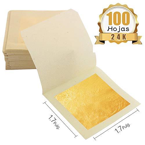 KINNO Pan de Oro Comestible 100 hojas 1.7''x1.7''/4.33cm Lámina de Or