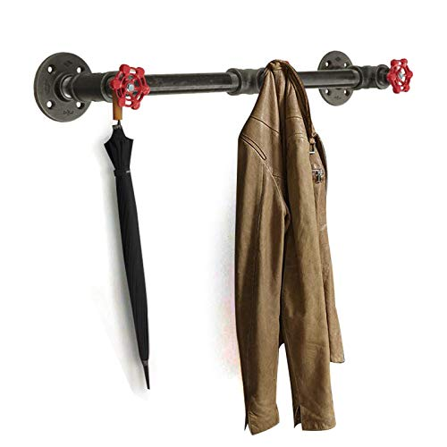 Perchero de pared con forma de tubo, montaje en pared, soporte industrial para ropa, soporta hasta 30 kg, estilo vintage