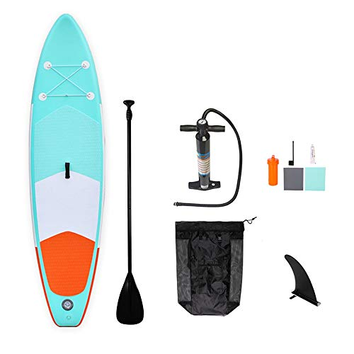 InChengGouFouX Tabla De Sup Hinchable Tabla de Surf Inflable Permanente Paddle Board Conjunto Lago o río Océano Bolsa de Transporte Touring Ligero Y Duradero (Color : Verde, Size : 305x76x15cm)