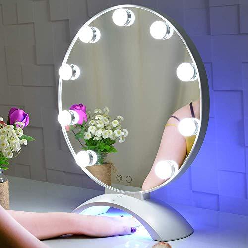 BEAUTME Hollywood Kosmetikspiegel mit Lichtern, beleuchteter Hollywood Kosmetikspiegel mit LED-UV-Nagel, Kosmetikspiegel auf dem Tisch mit Lichtern mit LED-Nagellampe (weiß)