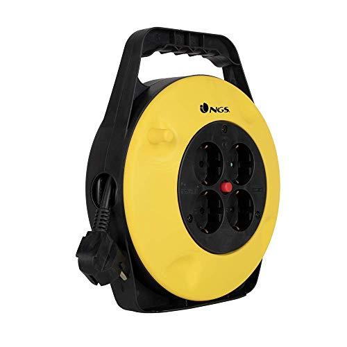 NGS GRIDROUND - Alargador de Enchufes con 10 Metros de Cable y 4 Tomas Schuko con Protección Térmica, Carrete Alargador de Corriente 250V 3500W