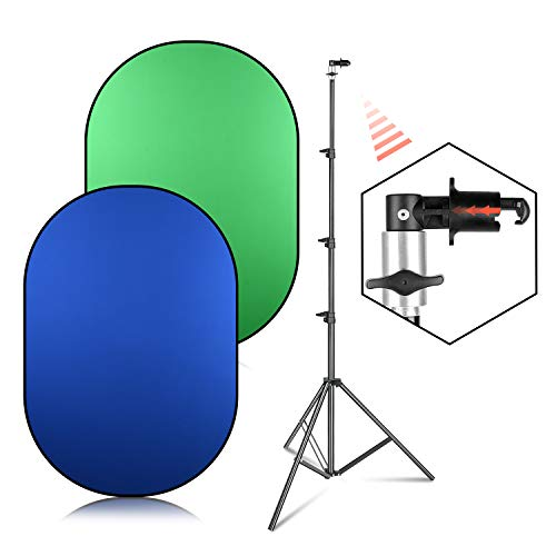 EMART 5ft x 6.5ft Chromakey Green/Blue 2-in-1 Collapsible Backdrop Panel kit, 8.5ft Photography Video Stand with Background Disc Holder Clip for Live Streaming Portrait Shooting