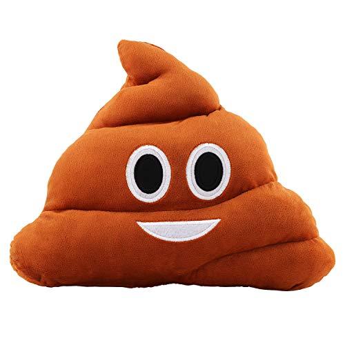 Poop Emoji Pillow 14 Inch Large Brown Smiley Emoticon