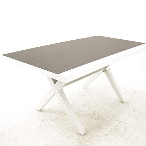 Mesa Auxiliar de jardín, Tamaño: 80x140x65 cm, Aluminio Reforzado Color Blanco, Tablero Cristal Templado Estilo cerámica