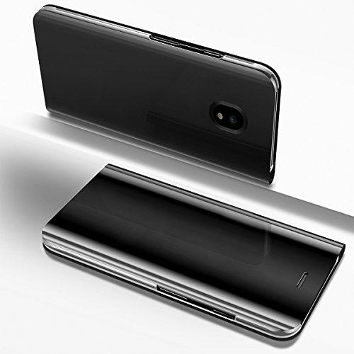 Ysimee Coque Samsung Galaxy J7 2017, Étui Folio à Rabat Clear View Case Couleur Unie Translucide Miroir Housse en PC Fonction Support Ultra Mince Flip Portefeuille Coque pour Galaxy J7 2017, Noir