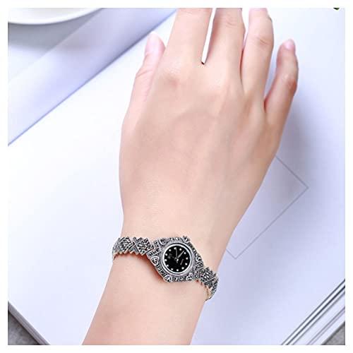 CHXISHOP 925 Sterling Silver Watch Reloj de Pulsera de Mujer Retro Redondo Inlaid Gemstone Pulsera Pulsera Watch Watch Business Casual Women's Watch black-16.5cm