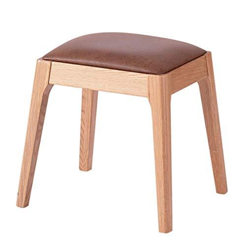 JYJD Hocker für Wohn- und Gartenmöbel, Eichenholz, gepolstert, mit komfortablem Kissen, für Wohnzimmer/Schlafzimmer, Holzfarben