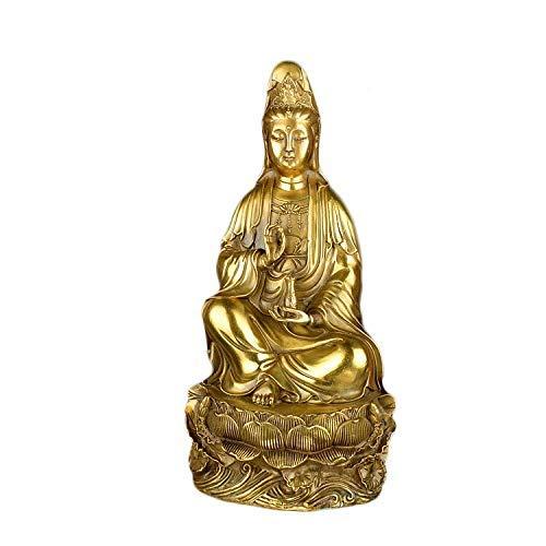 FEEE-ZC Cobre Puro 36 cm Grande Guanyin Bodhisattva Fengshui Adorno Buda Joyería de Estilo Tradicional Chino