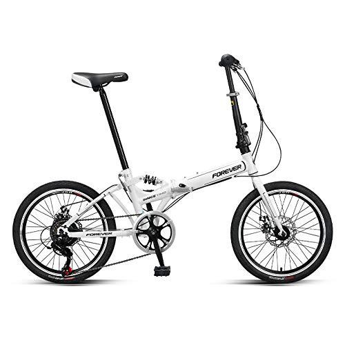 LXLTLB Folding City Bike, Unisex Student 20 Zoll Klein Klappfahrrad Tragbar Einstellbar Variable Geschwindigkeit Folding Bike,Weiß