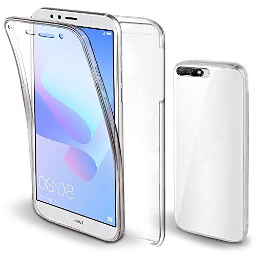 Moozy Funda 360 Grados para Huawei Y6 2018 Transparente - Full Body Case Carcasa Cuerpo Completo - Parte Delantera de Silicona, Trasera de PC Duro