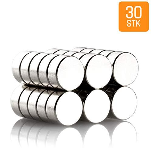 FABACH 30 Power-Magnete, silber, 6x3mm klein - NEODYM N45 - Extra starke mini Super-Magneten für Kühlschrank, Whiteboard, Magnettafel, Büro mit Nickelbeschichtung