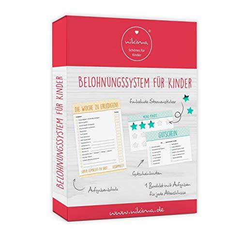 Belohnungssystem für Kinder - 1 Block Aufgabenliste, 25 Gutscheine, 100 Belohnungssticker, 1 Booklet - für Kleinkinder zum Lernen von Verantwortung und Sauberkeit