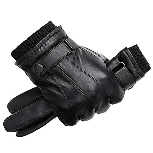 Guantes de Cuero para Hombre Otoño Invierno Pantalla táctil cálida Guantes Negros de Dedo Completo a21-xl