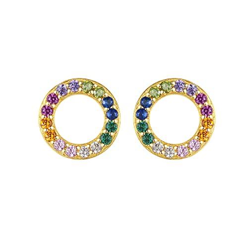 Pendientes Femeninos De Arco Iris De Viento Temperamento Círculo HuecoPendientes De Circonita De Color Oro De18 Quilates