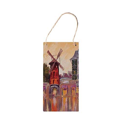 Cityscape Functionele Opknoping Houten Borden, Schilderij van Moulin Rouge in Parijs Centrum van Liefde Vintage Frankrijk Artprint Home voor houten bord 5x10 inch