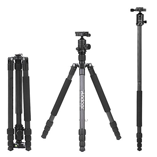 Andoer 64.2 inch Professional Carbon Fiber Camera Tripod Monopod Kit, 4 Sections 360 Degree AD-10 Ball Head Max. Height 163cm Load 6kg