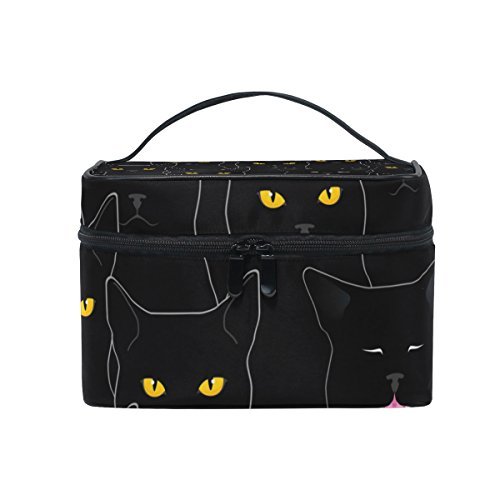 senya Travel Makeup Bags With Zipper Black Cats Pattern Cosmetic Bag Toiletry Bags Train Cases Storage Bags Portable Multifunction Case for Women Girls
