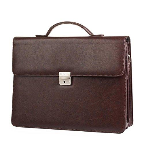 ITACA - Documenthouder 15 inch. Grote koffer voor directeur, professor, arts, advocaat. Werk- en draagbare documententas, schoudertas. Unisex T50040, Color Bruine