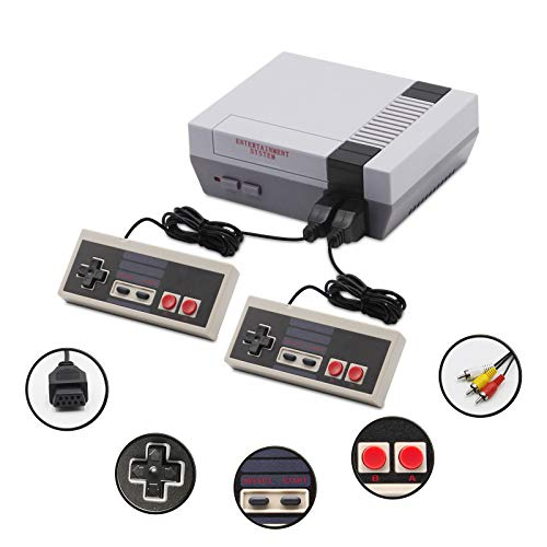 Retro Game Console Mini Classic Console with 620 Games Built-in and 2 NES Classic Controller, Plug & Play AV Out Childhood Mini Classic Game system, Old Video Game Console for Kids & Adults