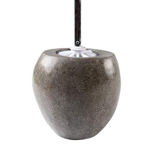 wohnfreuden Naturstein Toilettenbürstenhalter aus Flußstein inkl. Bürste ✓ ca. 20 cm hoch ✓ Dekoration für Naturstein Waschbecken aus Granit Kiesel