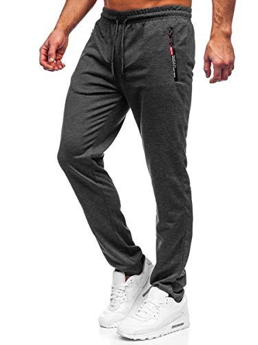 BOLF Herren Sporthose Jogginghose Trainingshose Fußballhose Fitnesshose Jogger Sweathose Jogpants Sweatpants Slim Fit Street Style Must JX1052 Dunkelgrau L [6F6]
