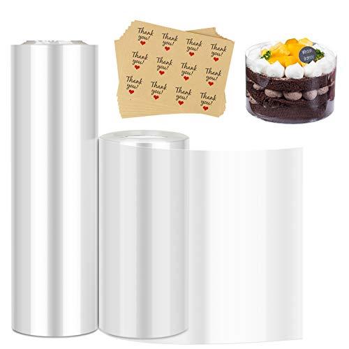 2 PCS Torta Collare, Jooheli Strisce Trasparenti in Acetato, Bobina Acetato, Rotolo di Acetato Trasparente per Torta di Mousse per la Mousse al Cioccolato, Torta Decorare (10cm*10m, 15cm *10m)