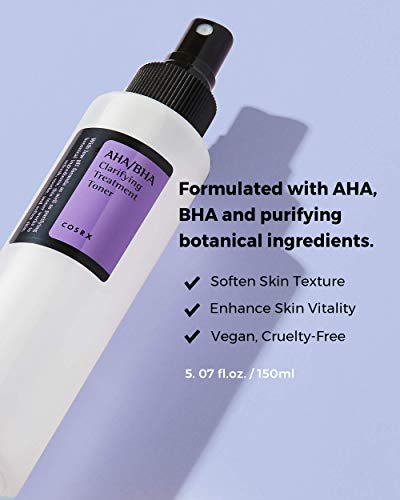 COSRX AHA/BHA Clarifying Treatment Toner, 5.07 fl.oz / 150ml   Exfoliating Facial Spray   Korean Skin Care, Hydrating, Mild Exfoliation, Vegan, Cruelty Free, Paraben Free