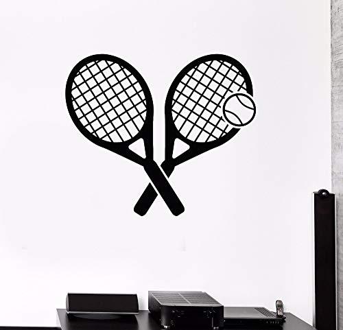 Tianpengyuanshuai Tennis Rocket Sportwettbewerb Wandaufkleber Gymnasium Dekoration Vinyl Art Abnehmbar Aktiv Sport Aufkleber -85X73cm
