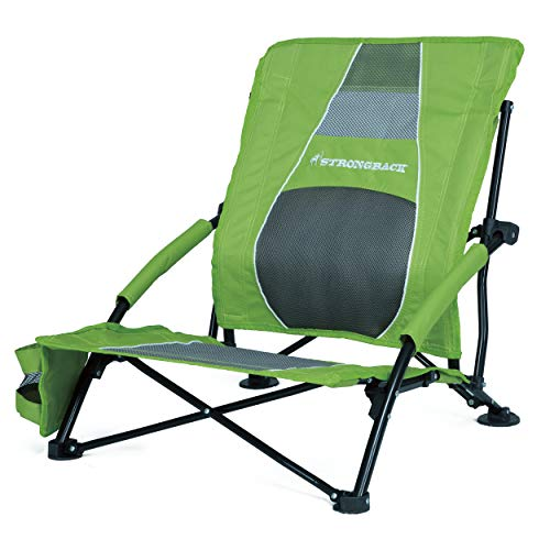 STRONGBACK Low Gravity Beach Chair Heavy Duty Portable Camping and Lounge Travel Outdoor Seat with Built-in Lumbar Support, Lime Green, 2.0 (New for 2019)