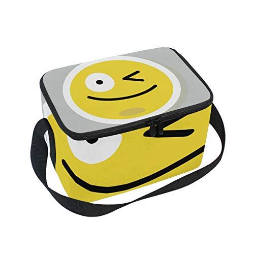 Emoji Emoticon Wink - Bolsa térmica para almuerzo, para adultos, ideal para picnic, para hombres y mujeres, para barcos, playa, pesca, trabajo con correa para el hombro
