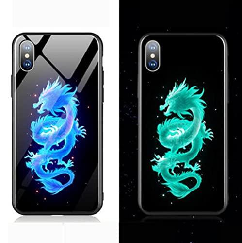 Resplandor Nocturno de Anime Funda para Teléfono con Cordón Funda Protectora para iPhone Carcasa de Vidrio Templado Antifricción Dragón Chino Serie Genial (Compatible con iPhone 11 Pro)