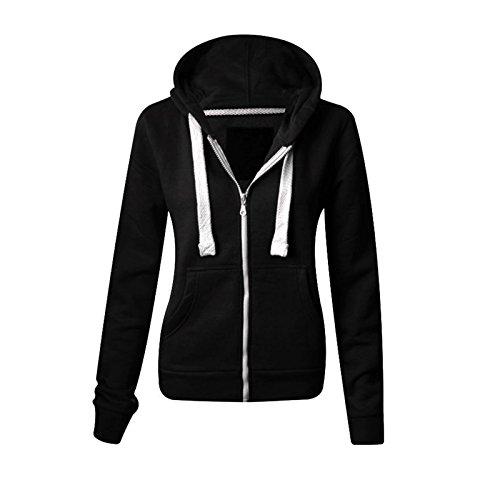Sweat-shirt à capuche molletonnée, uni à fermeture Éclair et à manches longues, avec poches avant, sweat-shirt doux, extensible et confortable pour femmes, grandes tailles, de la taille S à XXXXXXXL (34 à 60) - Noir - Small