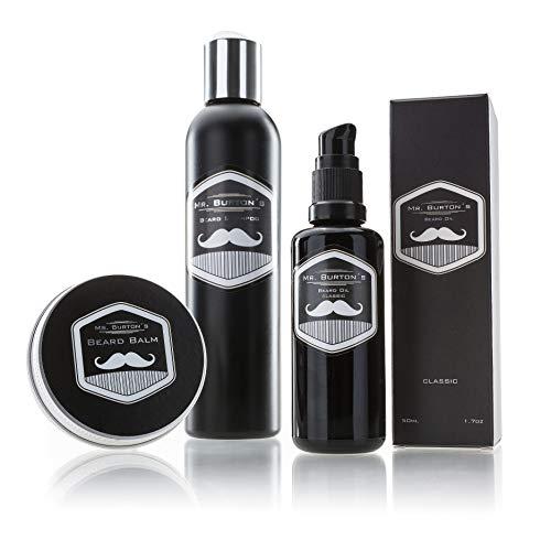 Bartpflege Set CLASSIC - 3 teilig von Mr. Burton´s. Inklusive Bartöl + Balsam + Bartshampoo