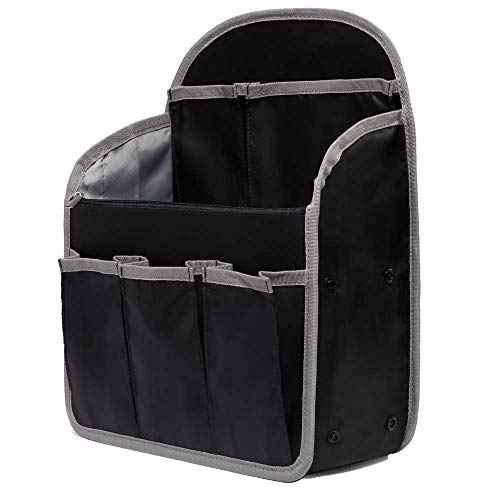 PAOIXEEL Lightweight Backpack Insert Organizer, Nylon Rucksack Organizer Insert, Large Black