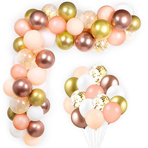GAGAKU 100 Pezzi Palloncini Oro Rosa 12 Pollici in Lattice Palloncini Metallici Coriandoli Ghirlanda Arco Kit per Compleanno Matrimonio Decorazioni per Feste in Oro