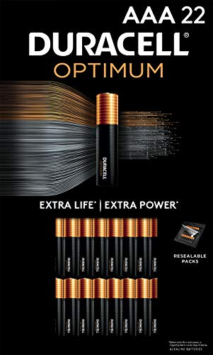 Duracell Optimum AAA Batteries | 22 Count Pack | Lasting Power Triple A Battery | Alkaline AAA Battery Ideal for Household and Office Devices | Resealable Package for Storage