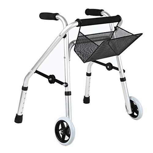 ZXR-Walker Gehhilfe, Rehabilitationshilfe FüR Behinderte Kinder, Gehhilfe, KrüCken Mit RäDern, 5 Verstellbare EinkaufsköRbe Aus Aluminiumlegierung (50 * 43 * 53-63 cm)