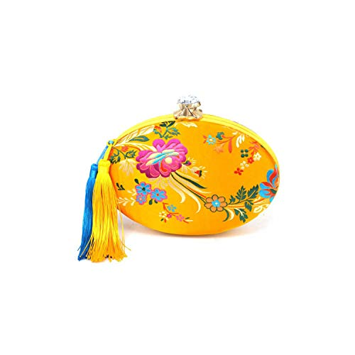 Strawberryran Embroidery Bag Novia amarillo bordado floral del partido de tarde del...