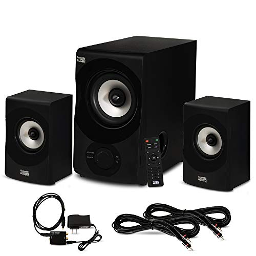 Acoustic Audio by Goldwood Acoustic Audio AA2171 Bluetooth 2.1 Home Speaker System with Optical Input and 2 Extension Cables, Black