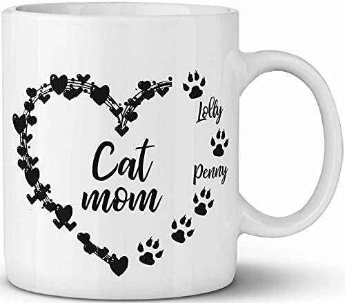 Custom Coffee Mug With Name Paw Cat Mom Ceramic Cup - Personalized Birthday Christmas Gift For Cat Owner 11OZ