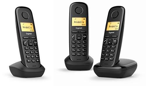 Gigaset A170 Trio - Teléfono Inalámbrico, Pack de 3 Unidadesds, Pantalla Iluminada, Hasta 50 Contactos, Volumen Ajustable, Color Negro